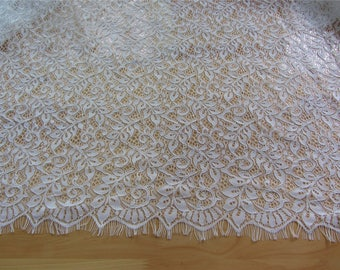 "Leaves lace fabric, 59"" off white eyelash lace fabric  , Chantilly Eyelash Lace Fabric for Wedding Gowns-LSM3L093"