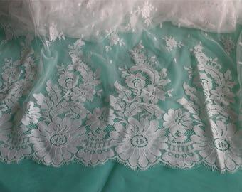 "59"" eyelash flower lace fabric -little hard ,Chantilly Eyelash white Lace Fabric by yard for Wedding Gowns, Bridal Veils, Mantilla, Costumes"