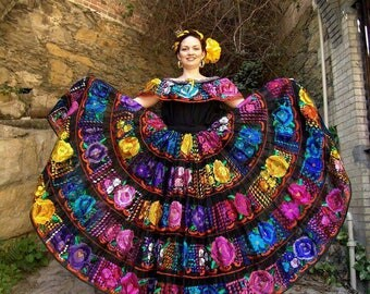 Professional Chiapas Dress/Original Hand Embroidered Folk Dress/Mexican Ethnic Dress,Frida Kalho Dress,Costume Dress,Festival Dress S,M,L,XL