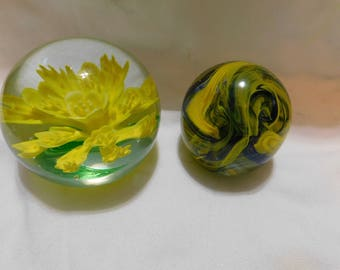 2 Vintage Glass Paperweights