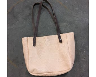 SALE Limited Edition SMALL TOTE Snakeskin Veg Tan • Embossed Cowhide Leather Purse