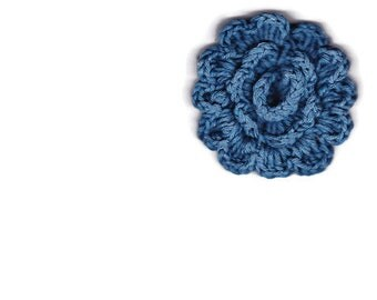 Blue cotton crocheted flower