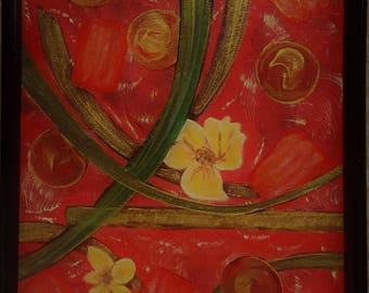 Abstract oil, Heaven, Earth, Man,  11 x 14 unframed; 12 x 15 framed;  orange, green, circles, yellow, gold