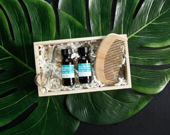 Pure| Nourishing Beard Oil Testers - Select 2, 3 or 5 Oils in 1/2oz Bottles + Beard Kit (Wood Comb, Trimming Scissor+Wood Box) Add-On