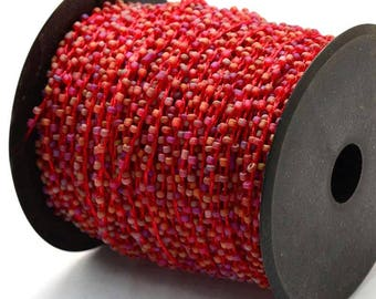 30ft/Spool Red Frosted Transparent Seed Beads Beaded Cord