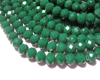 1 Strand Green Faceted Rondelle Beads 8x6mm