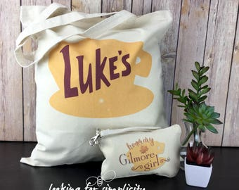 Great Gift Set  - Luke's Diner from Stars Hallow, CT Light Logo Light Weight Tote Bag + Honorary Gilmore Girls zipper pouch set
