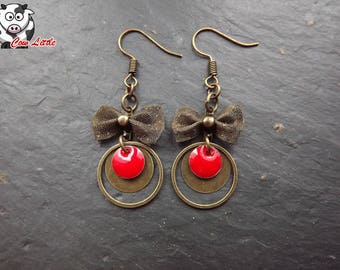 Earring bronze romantica rings plates and Red sequins