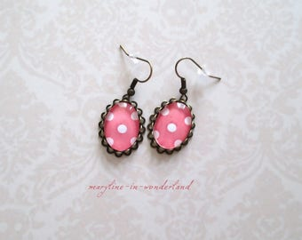 Coral polka dots cabochon earrings