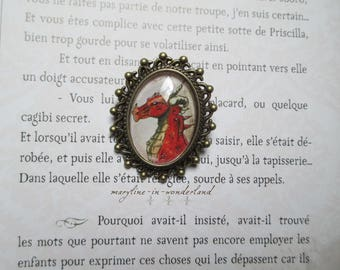 Oval bronze dragon brooch Red