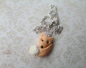 pretty beige polymer clay Fox necklace