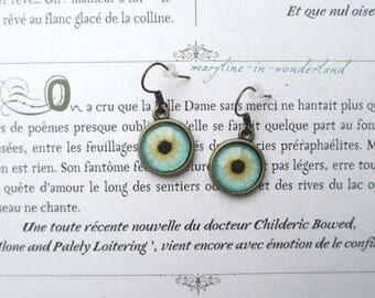 Earrings bronze eye Cabochon eyes yellow and green