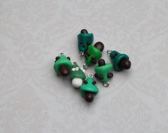 Miniature polymer clay green mushroom set
