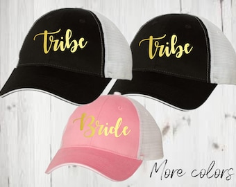 set of 4 tribe trucker cap, bride cap, bride tribe trucker caps, bridesmaid gift, bridal party gifts, bridal party caps