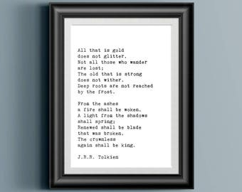 All That is Gold Does Not Glitter - 8x10 JPG Art PRINTABLE - Not All Who Wander Are Lost - JRR Tolkien - Fellowship of the Ring - Book Quote