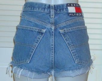 Tommy Hilfiger Big Flag High Waist Cut Off Festival Jean Shorts~7~