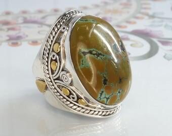 Turquoise & 925 Sterling Silver Statement Ring, Natural Turquoise, Wirework Dress Ring - Sz US 7 (UK,  Aus. N 1/2) #B213