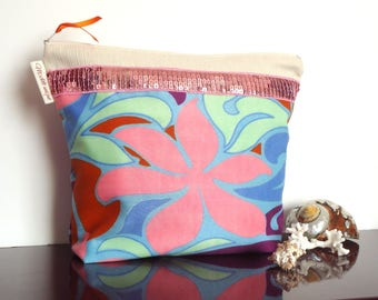 Tropical exotic pink toiletry bag