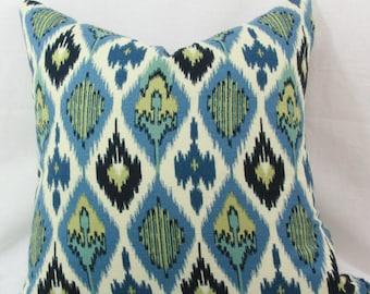 blue and green ikat decorative throw pillow cover. 20 x 20 pillow cover. toss pillow cover. Accent pillow.