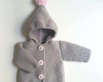 Woolen jacket baby / vest baby naps / birth in 2 years / knitting(sweater) hand-made baby / baby cloth naps baby / jacket baby / vest hood