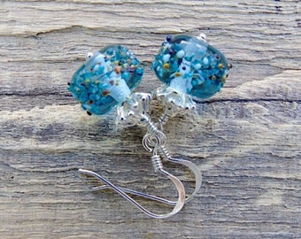 Pale blue lampwork glass sterling silver earrings