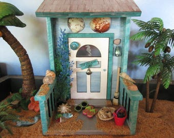 Miniature Garden Summer Seaside Beach Door OOAK Fairy Gnome Cottage House  Accessory Seahorse