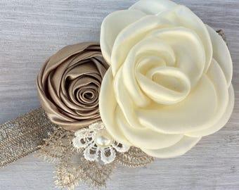 Yorkie wedding Collar, Maltese Dog Wedding attire, small Dog collar, coral Wedding collar dog, champagne dog collar, flower collar, slip on