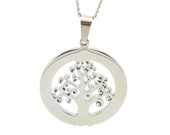 Coorabell Crafts Silver Circle Tree of Life Pendant and Necklace, Engraveable Gift ideas