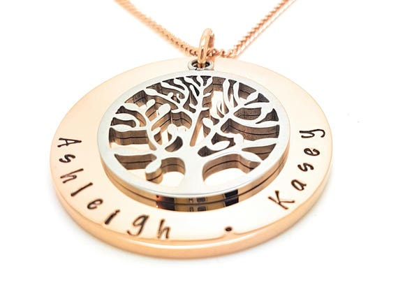 Family names tree of life pendant personalised jewellery hand like this item aloadofball Image collections