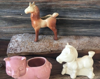 Vintage Planters, (3) Small, Two  Horses and a Pig, Home and Living, Gardening, Plants, Ceramic Planters, Small Planters
