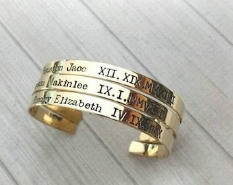 Personalized brass cuff bracelet, hand stamped cuff, name bracelet, roman numerals cuff, gift for mom