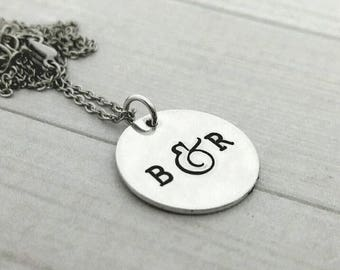 Personalized couples initials with fancy ampersand hand stamped necklace
