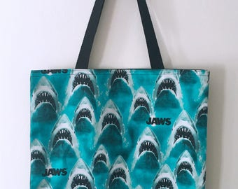 Fully Lined Handmade Jaws Cotton Shopping/Beach Tote Bag