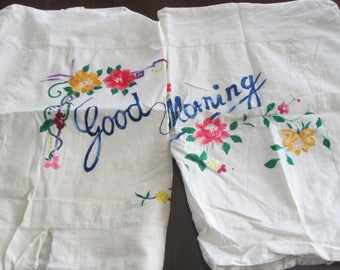 Charming Vintage Good Morning and Night Pillow Cases, Art Deco Asian Design Slips