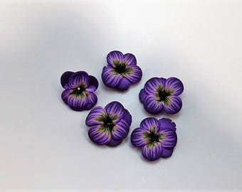 Purple Pansy Polymer Clay Beads, Flower Beads