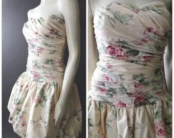 Vtg 90s Dolly Grunge FLORAL Pastel Ruched Puffy Bubble Formal PROM Mini DRESS M