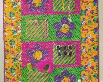 Kids Patchwork Pocket Quilt with Appliqué Daisies Bright Colors