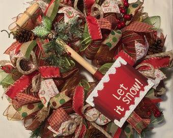Winter wreath, winter wreaths, snowflake wreath, Christmas wreath, wreath, wreaths, winter door decor, let it snow, Christmas wreath