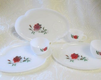 3 Federal Glass Rosecrest Snack Sets - 1950s Milk Glass Snack Luncheon Sets with Red Roses