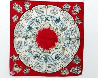 Zodiac Handkerchief Burmel Print  Astrological Signs