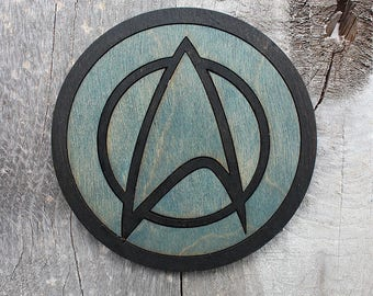 Star Trek Sciences Wood Coaster | Rustic/Vintage | Hand Stained and Glued | Comic Book Gift |