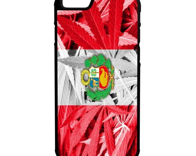 Peru Weed Flag Hybrid Rubber Protective Phone Case