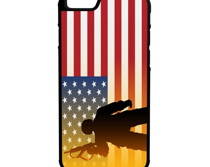 American Flag With Soldier Protective Hybrid Phone Case iPhone Galaxy Note LG HTC
