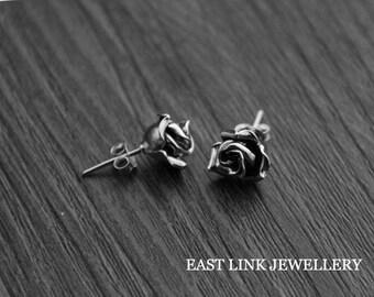 925 Silver 3D rose earrings ear stud pierced lobe earrings 1 pair