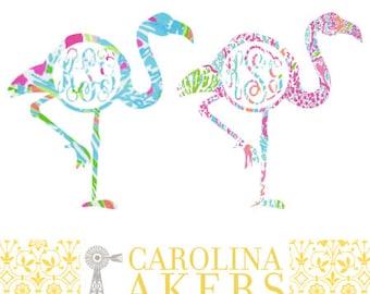 Flamingo Monogram Decal - Flamingo Monogram - Circle Monogram - Flamingo Decal - Monogram Decal - Car Decal - Yeti Decal