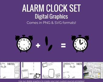 Digital Graphics -  Alarm Clock Set (png and svg) Bullet Journal Digital Stickers