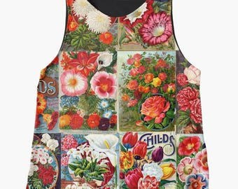 Flowers Womans TShirt, Retro Clothing, Tank Top Flowers, Womans Tops, Gardeners Gifts, Womens Clothing, Gardening Gift, Colorful Clothing
