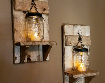 Mason jar Candle Holder, Rustic Country Decor,  sconces, candle holdesr, lantern shelf, Mason Jar wood candle, Housewarming    priced 1 each