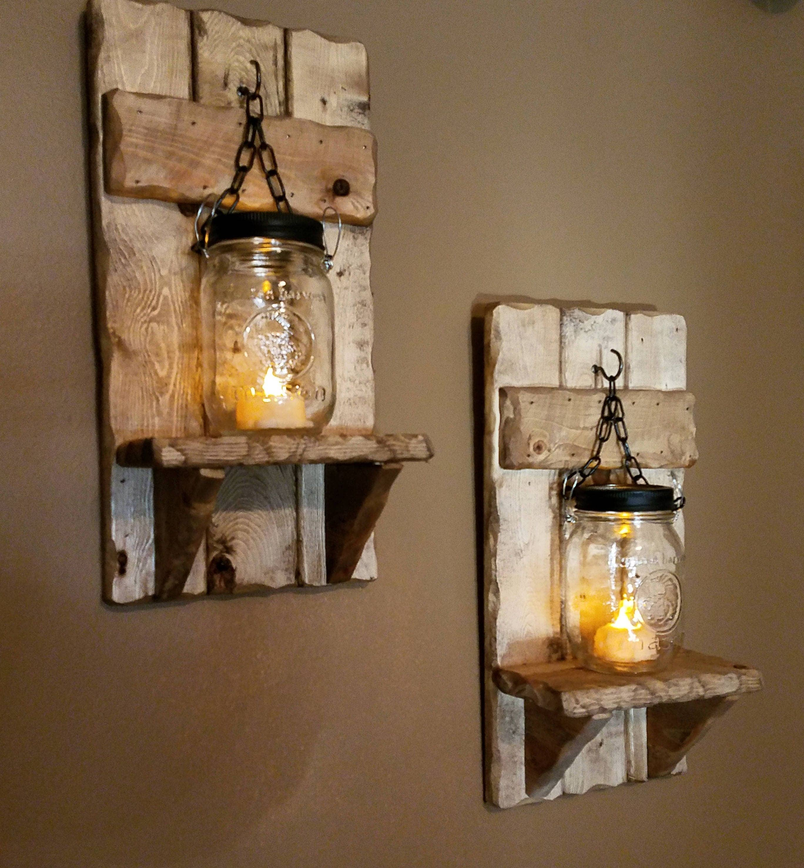 Mason jar candle holder rustic country decor sconces zoom amipublicfo Image collections