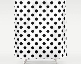 Polka Dot Shower Curtain, Ikat Bath Curtain, Girls Bathroom Decor, Girls Shower Curtain, Standard or Extra Long, Black and White
